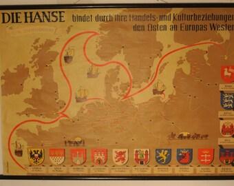 "60s school wall map ""Hanse"""