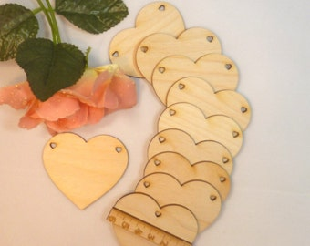 5 piece wood heart heart EHW different size 6 cm, 8 cm or 11 cm selectable blank free heart natural wood wooden wedding wedding game