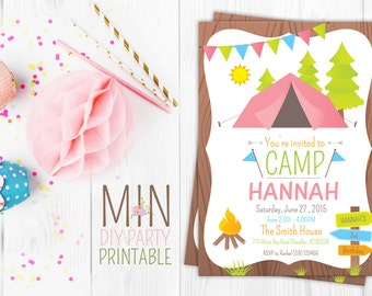 Camping Invitation, Camping Invite, Glamping Invitation, Girls Camping Invitation, Glamping Invite, Girls Camping