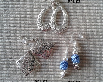 Silver earrings and embellishment of silk hand - twisted PPL01-2-3