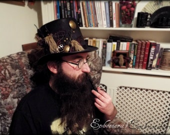 Black goth / steampunk top hat with three moths on