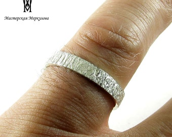 Stacking Silver Hammered Ring Ring with medium Texture , Stackable Sterling Ring, 925 Silver Hammered Ring, 3,5 mm