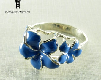 enamel sterling silver  ring, 925 Sterling Silver,  Blue flower, enamel jewelry,flower