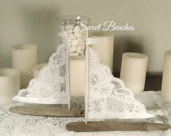 2 White Lace Driftwood Sailboat Seaside Nautical Resort Decor Wedding Center Peice