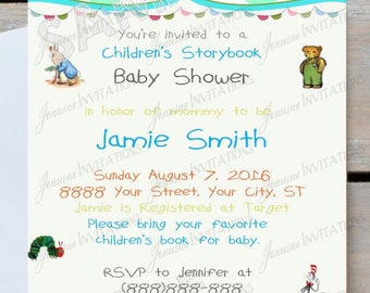 Storybook Baby Shower Invitations , Storybook Baby, Children, Kid,Shower Invitation Printed or Digital Download