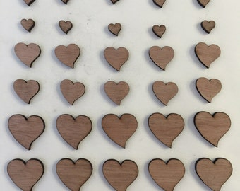 30 x Wooden Heart Shapes // 3 Different Sizes Included: 1cm / 2cm / 3cm // STYLE 2