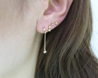 Ear Climber/Plough earring/Plough climber/Ear crawler/ Chain earring/ Dangle earring/Earrings/Constellation earring/Cubic climber