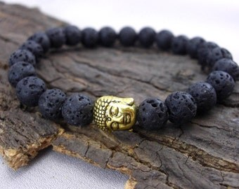 Buddha bracelet and black lava beads