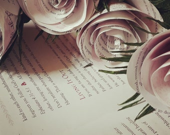 Light pink old book pages- FLOWERS Roses Vintage Style True Love Story