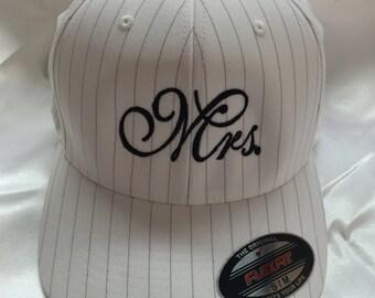 Mrs baseball Cap, Wedding Cap, Mr and Mrs ball caps, Mr and Mrs caps, Wedding Gifts, Personalized Wedding Gift, Mrs. Pinstripe Flexfit Cap