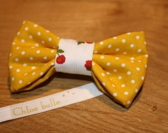 Spindle bow tie yellow & peas cherry