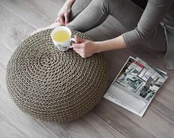Linen organic pouf, crochet pouf, footstool, crochet floor cushion, pouf ottoman, housewarming gift