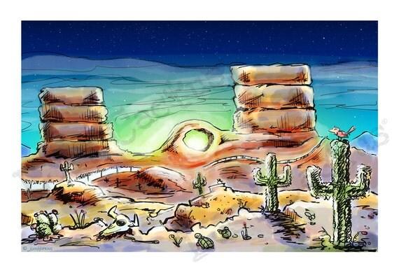 Desert Art Print Comic Book Art Night Sky Starry Night