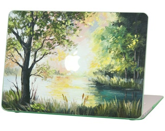 Macbook Air 11 inches Rubberized Hard Case for model A1370 & A1465, Oil Painting Summer with Green Bottom Case, Comes with Keyboard Cover
