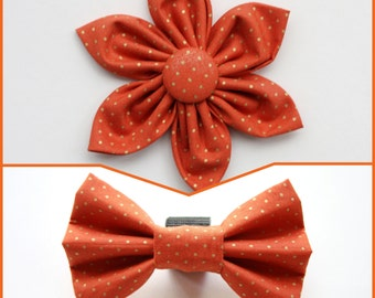 Orange Gold Dot Dog Collar Flower/Dog Bow Tie