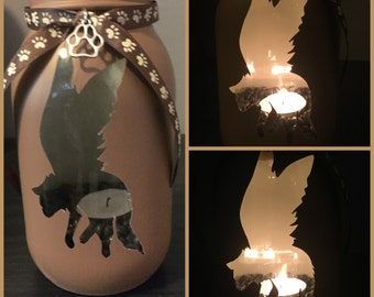 Dog Angel Mason Jar Tea light Candle Holder