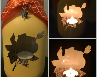 Rose Mason Jar Tea Light Candle Holder