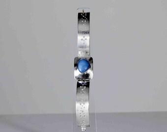 Sterling Silver Hinged Bracelet with Blue Larimer GemStone, Modern, Silver Jewellery, UK Seller