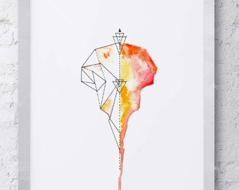 Abstract Geometric Watercolor Bird Skull
