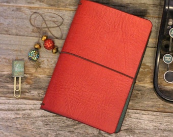 Christmas Travelers Notebook Leather Quill - Red and Green- Holiday Planner -Christmas Planner - Holiday Journal -Christmas Gift  - 6 Sizes