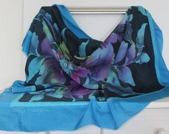 OVERSIZED Zateir Malaysoia 100% silk scarf in blue, purple, black - floral design - LARGE