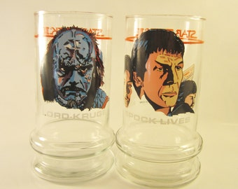 Vintage Spock Lives and Lord Kruge Drinking Glasses from Star Trek 3 - 1984 Paramount for Taco Bell -The Search for Spock