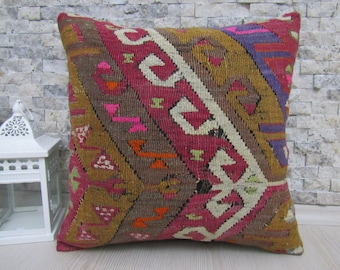 Very rare Antique embroidery pillow 16 x 16 Very old  Turkish kilim pillow Anatolian Embroidery kilim pillow cover Decorative throw pillow
