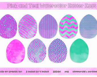 Pink and Teal Watercolor EASTER Egg Clip Art Digital Graphic Set - Fun Modern Patterns - INSTANT DOWNLOAD