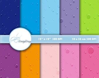 Digital paper Raindrop, Raindrop Scrapbook Paper, Printable Raindrops Background, Raindrop Paper Pack, Raindrop Paper, Digital Download