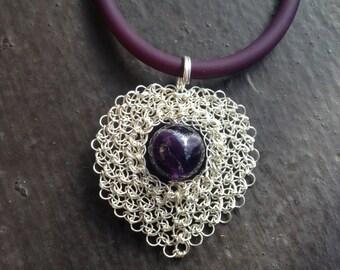 Crochet Sterling SIlver Heart Amethyst Necklace