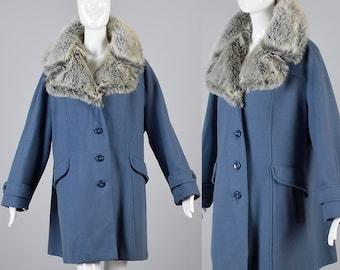 Vintage 60s Smoky Blue Gray Wool Car Coat Faux Fur Collar Swing Winter Plus Size