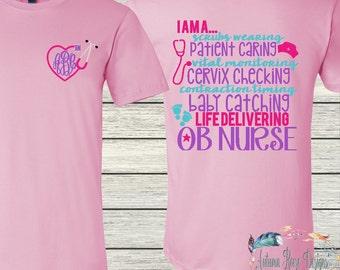 Monogram Nurse OB Labor & Delivery RN BSN Lpn  Personalized Custom T-shirt Nursing
