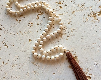 Long Freshwater Pearl Tassel Necklace,tassel necklace,Pearl Tassel Necklace,yoga pearl necklace,pearl tassel,pearl necklace with leather tas