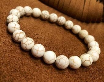 FREE G-BOX Howlite Bracelet,yoga bracelet,boho bracelet,bohemian bracelet,mala bracelet,mans howlite bracelet,howlite gemstone bracelet,woma