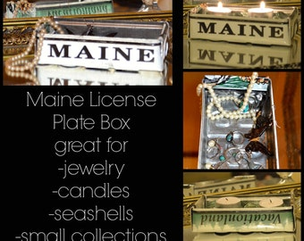 Recycled Maine License Plate Box:souvenir-thank you gift-jewelry box-candle holder