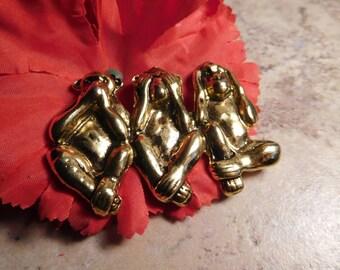 Speak No Evil See No Evil Hear No Evil Monkey Gold Toned Vintage Brooch Pin