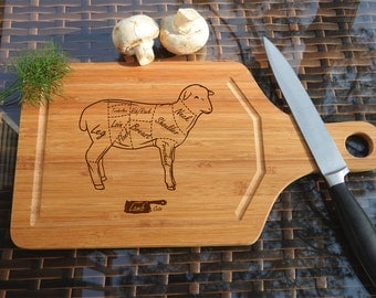 ikb260 Personalized Cutting Board Wood sheep lamb cutting meat restaurant kitchen