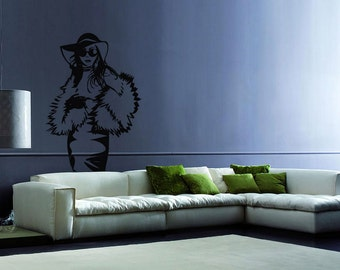 rvz041 Wall Vinyl Sticker Decals Lady Girl