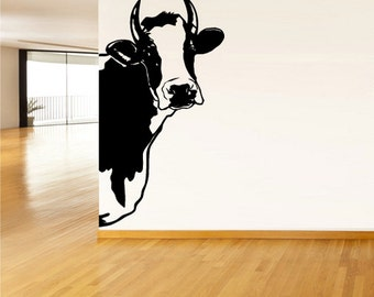 cow wall decal cow wall art cow wall decor cow wall stickers cow head wall art cow head wall decor (Z599)