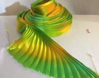 Shibory silk Ribbon-64 yellowgreen