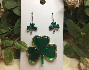 St.Patricks Day Shamrock Pin and earrings