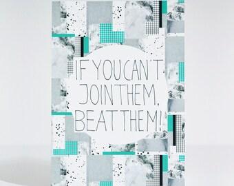 Beat Them statement print - A5 card