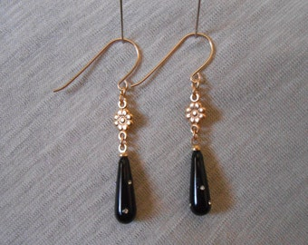 Black and gold drop earrings, Black and gold dangle earrings, Black and gold earrings