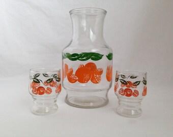 Vintage Orange Juice Pitcher and Glasses