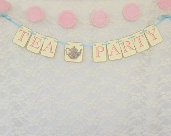 Tea Party Banner•Handmade•Made to order• customize color