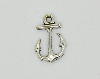 Silver Anchor Charm Necklace, Anchor Pendant, Silver Anchor Charm Pendant