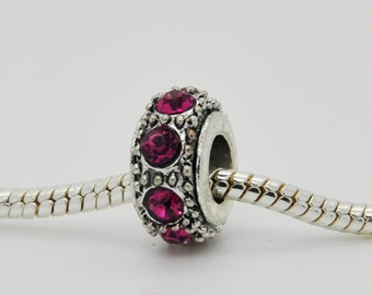 Magenta Rhinestone Bead, Bracelet Beads, European Bracelet Beads.