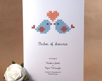 Cross Stitched Heart - Love Bird - Order of Service
