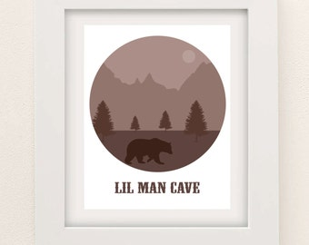 Lil Man Cave - Little Man Cave - Nursery Decor - Baby Boy Nursery - Woodland Nursery - Boys Wall Art - Little Man - Nursery Decor Boy