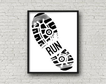 RUN (5x7, 8x10, 11x14 Prints Included!), Gift For Runner, Motivational Poster, Marathon, Running, Fitness Motivation, Digital Art, Printable